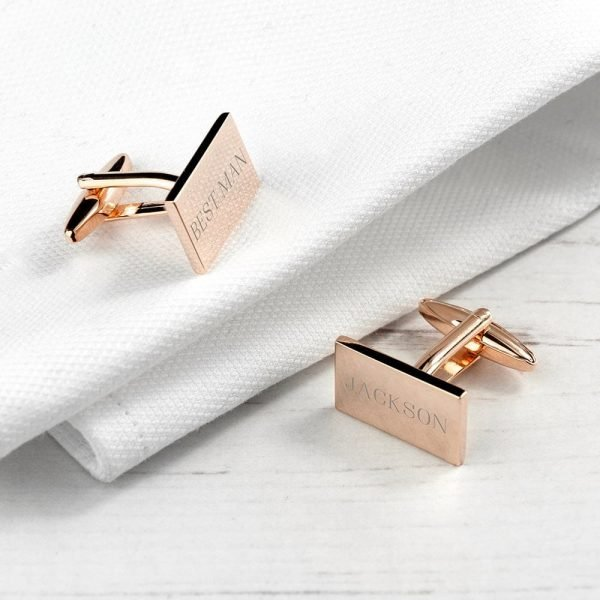 Personalised Rectangle Rose Gold Plated Cufflinks
