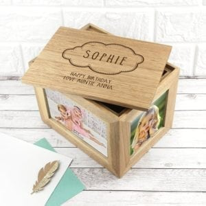 Personalised Baby Name In Cloud Midi Oak Photo Cube Keepsake Bpx