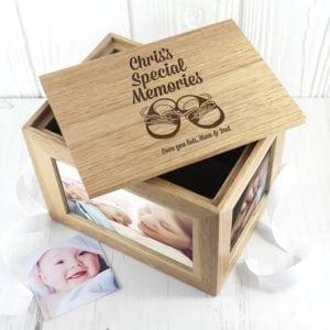 Personalised Baby Shoes Midi Oak Photo Cube Keepsake Box