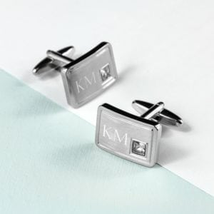 Personalised Brushed Silver Cufflinks With Crystal