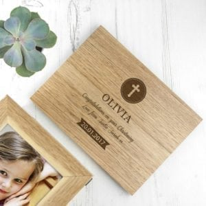 Personalised Christening Cross Midi Oak Photo Cube Keepsake Box
