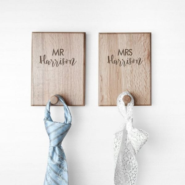 Personalised Contemporary Couples Peg Hook