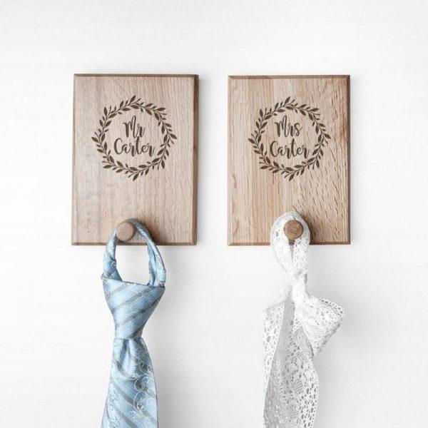 Personalised Couples Wreath Peg Hook