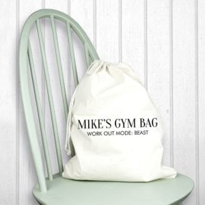 Personalised Cotton Cream Gym Bag