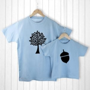 Personalised Daddy and Me Acorn Blue T-Shirts
