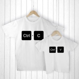Personalised Daddy and Me Copy Paste White T-Shirts