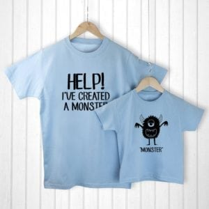 Personalised Daddy and Me Little Monster Blue T-Shirts