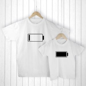 Personalised Daddy and Me Low Battery White T-Shirts