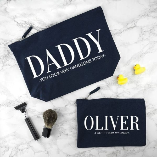 Personalised Daddy & Me Navy Wash Bags