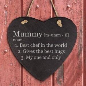 Personalised Definition of Mummy Heart Hanging Slate Keepsake
