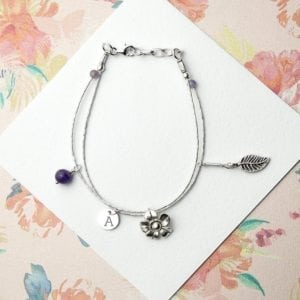 Personalised Forget Me Not Friendship Braclet With Amethyst Stones