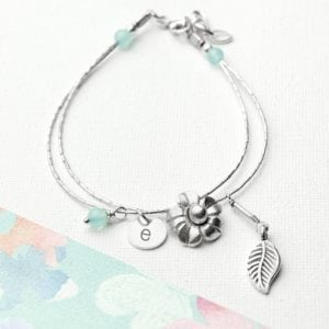 Personalised Forget Me Not Friendship Braclet With Blue Topaz Stones