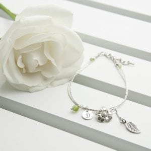 Personalised Forget Me Not Friendship Braclet With Peridot Stones