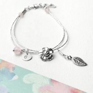 Personalised Forget Me Not Friendship Braclet With Rose Quartz Stones
