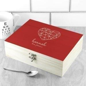 Personalised Geometric Heart Tea Box