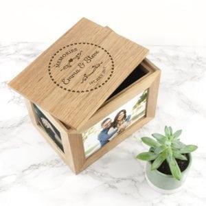 Personalised Heart Framed Couples' Midi Oak Photo Cube Keepsake Box