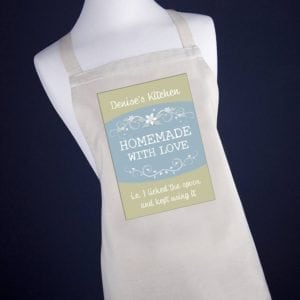 Personalised Homemade With Love Apron - Olive Green