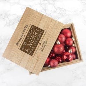 Personalised Merry Christmas Midi Oak Photo Cube Keepsake Box