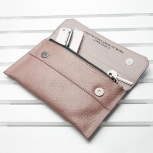 Personalised Nude Pink Leather Clutch Bag