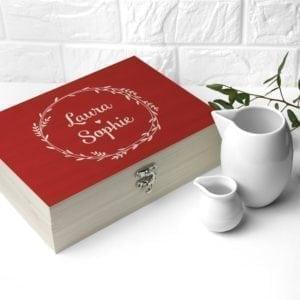Personalised Romantic Wreath Tea Box