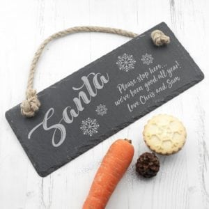 Personalised Santa Please Stop Here Slate Hanging Sign