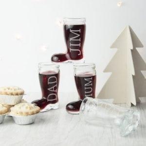 Personalised Set of 4 Santa Boots Shot Glasses