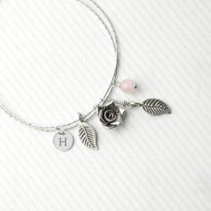 Personalised English Rose Bracelet With Rose Quartz Stones