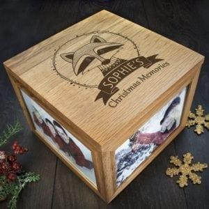 Personalised Woodland Raccoon Christmas Memory Box