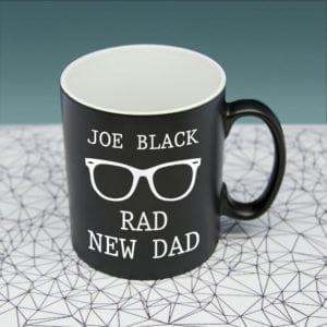Rad New Dad Black Matte Mug