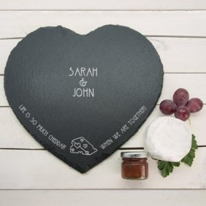 """Romantic Pun Life is So Much Cheddar"""" Heart Slate Cheese Board"""""""