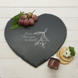 "Romantic Pun Olive You So Much"" Heart Slate Cheese Board"""
