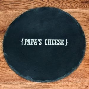 Personalised Name Swirl Brackets Round Slate Cheese Board