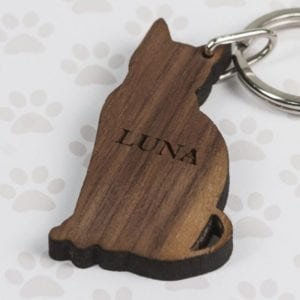 Walnut Wood Cat Shaped Keyring