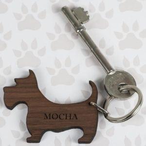 Walnut Wood Dog Shaped Keyring