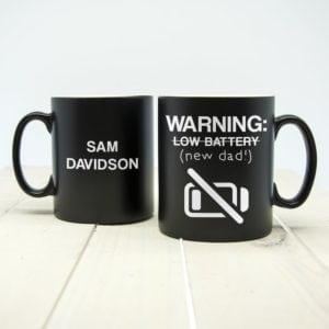 Warning: New Dad Black Matte Mug