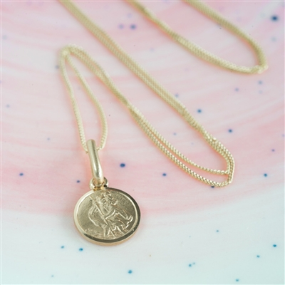 9ct Gold St Christopher Christening Necklace