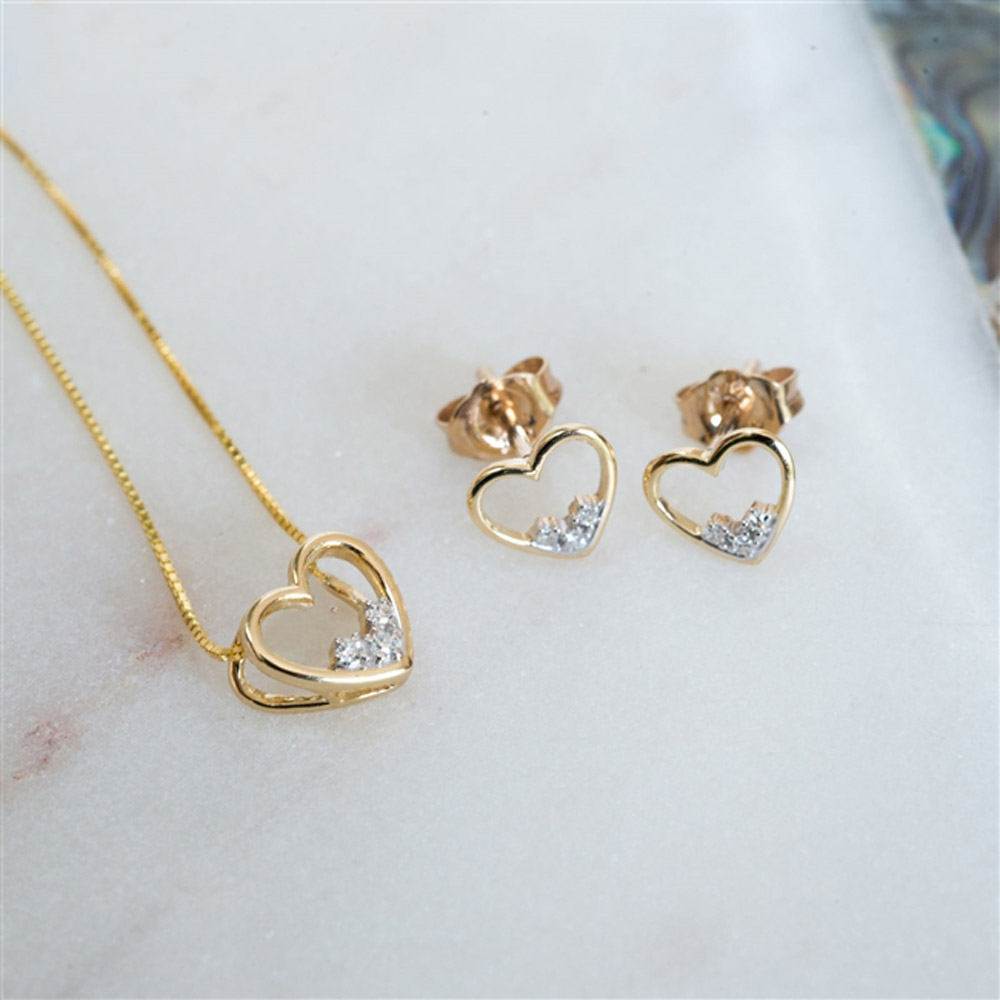 Gold Diamond Heart Set *