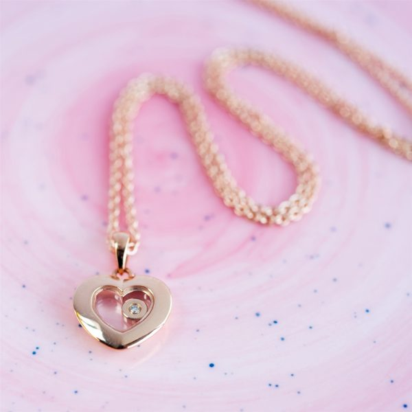 Rose Gold Heart Floating Diamond Necklace