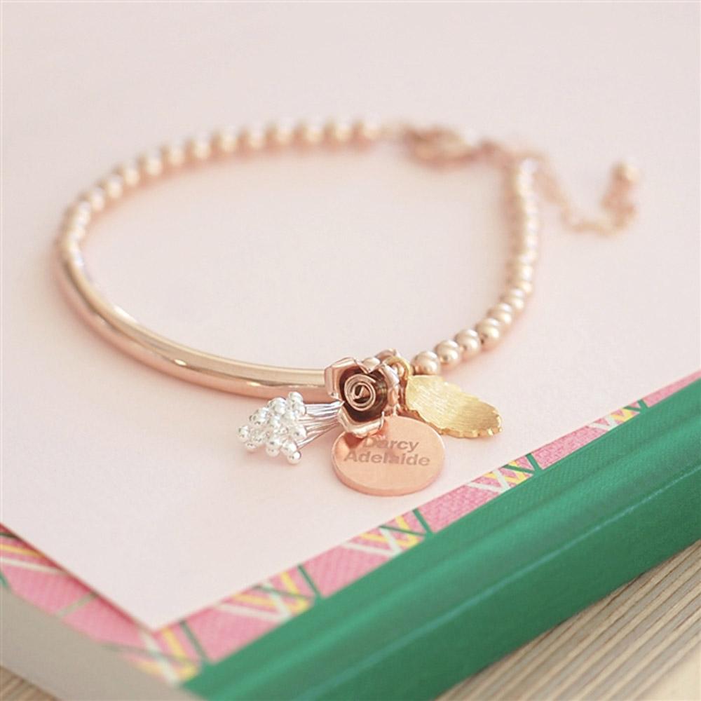 Bouquet Rose Gold Bracelet, 19cm