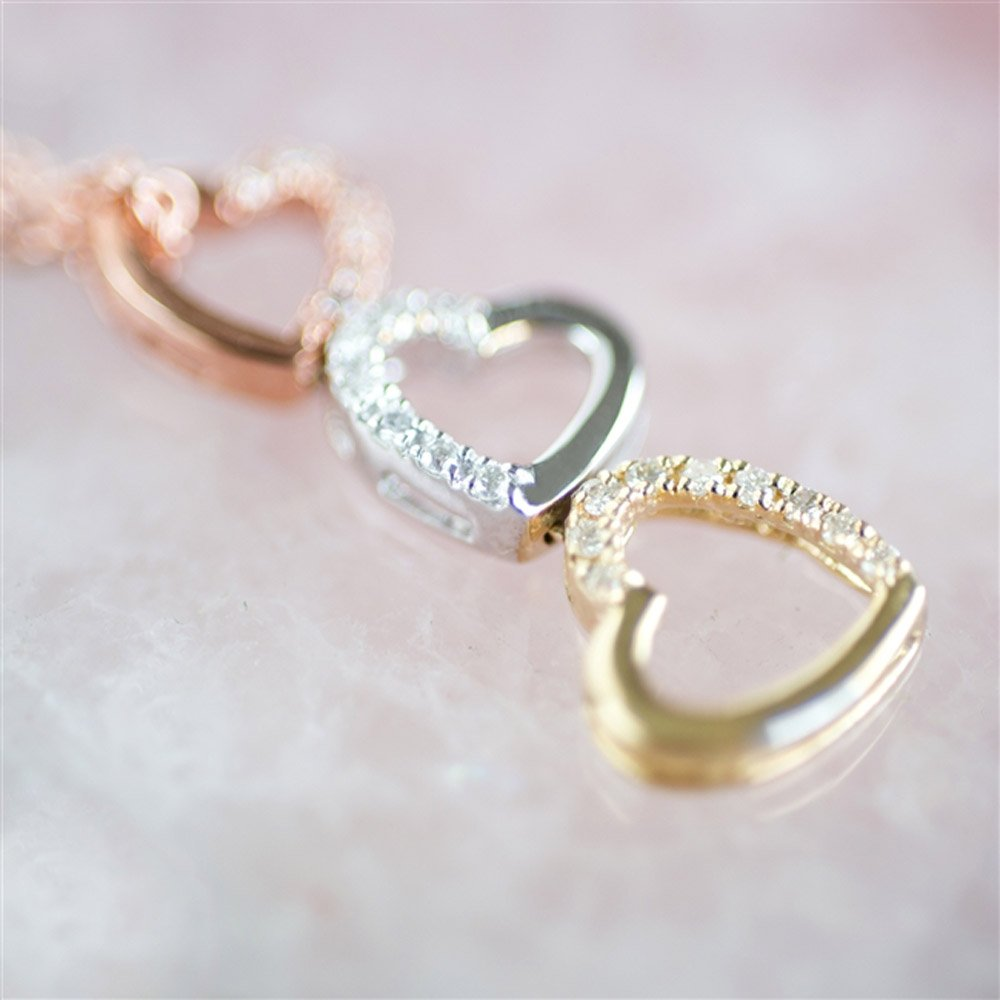 Tumbling Hearts Diamond Necklace