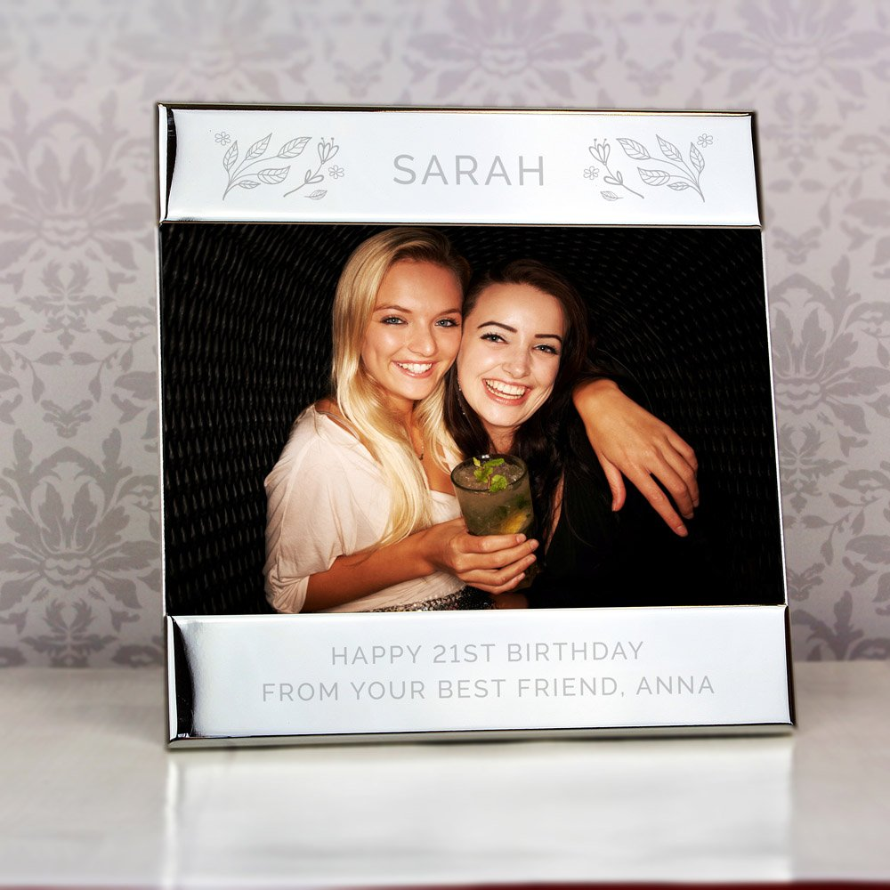 Silver Floral Square 6x4 Landscape Photo Frame