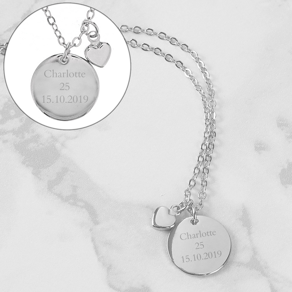 Silver Coloured Disc and Heart Charm Necklace