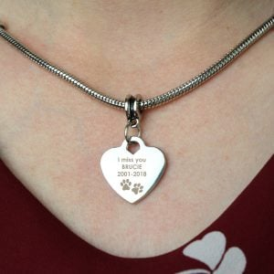 Pawprints Heart Charm Necklace
