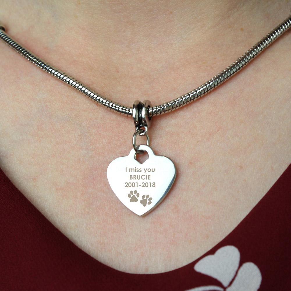 Pawprints Heart Charm Necklace