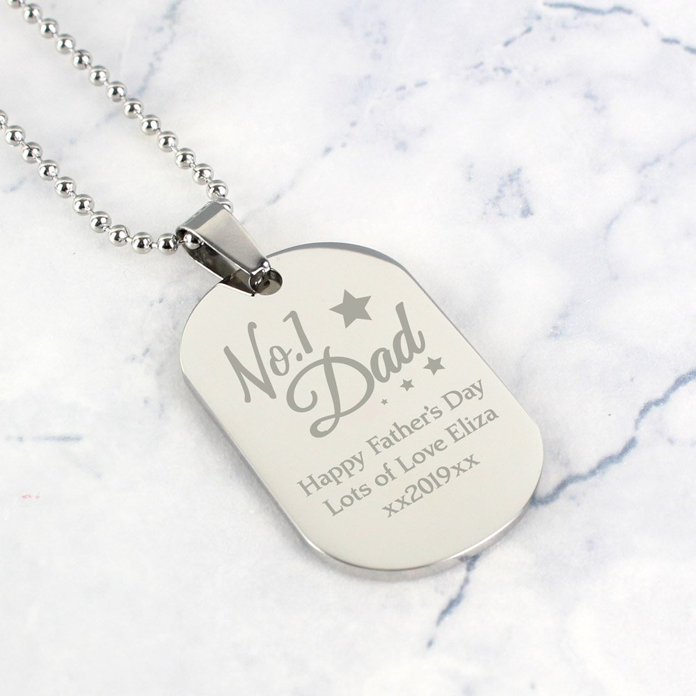 No.1 Dad Stainless Steel Dog Tag Necklace