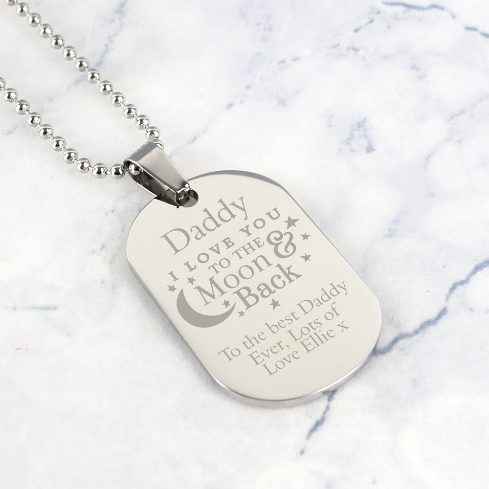To The Moon & Back...' Stainless Steel Dog Tag Necklace
