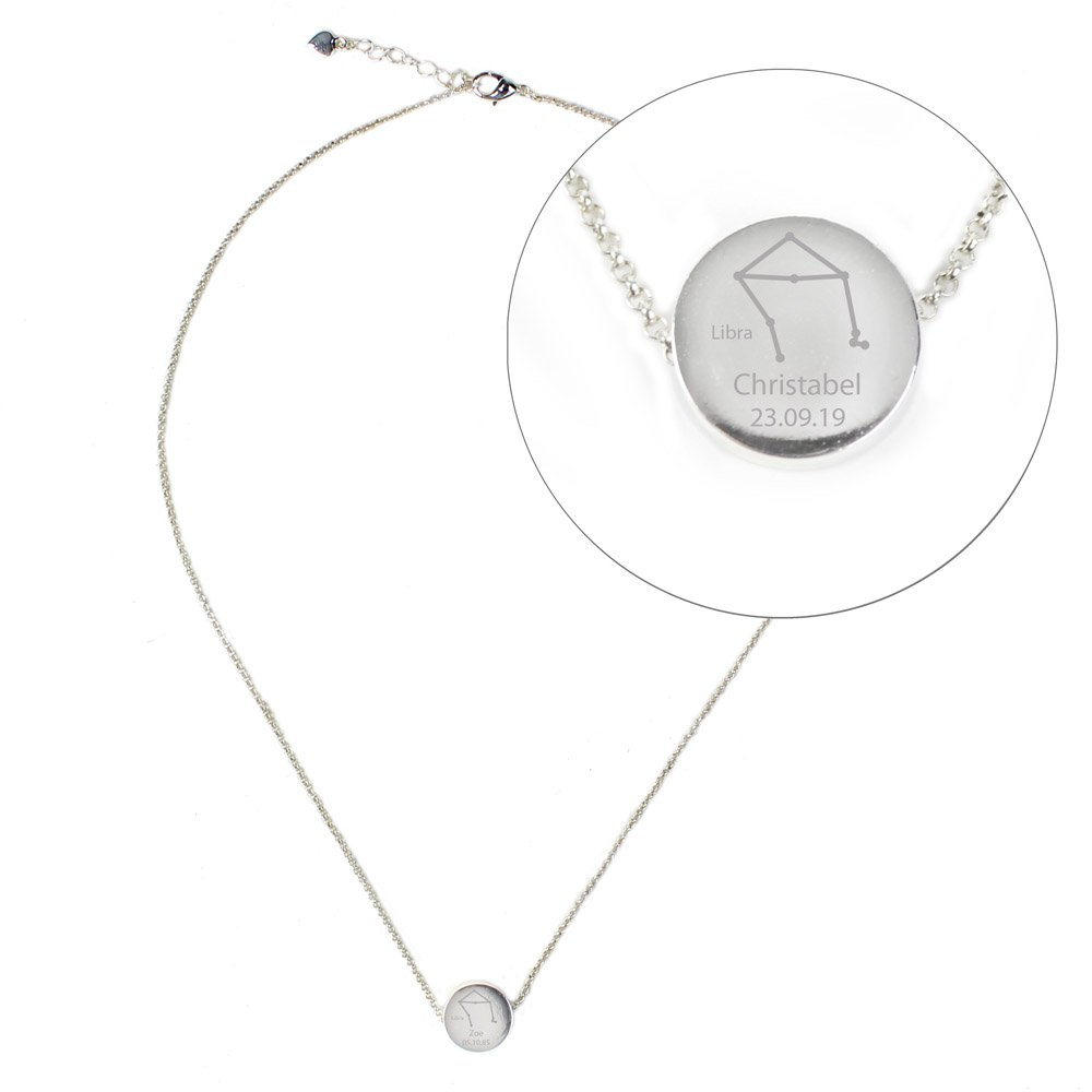 Libra Zodiac Star Sign Silver Tone Necklace (September 23rd - October 22nd)