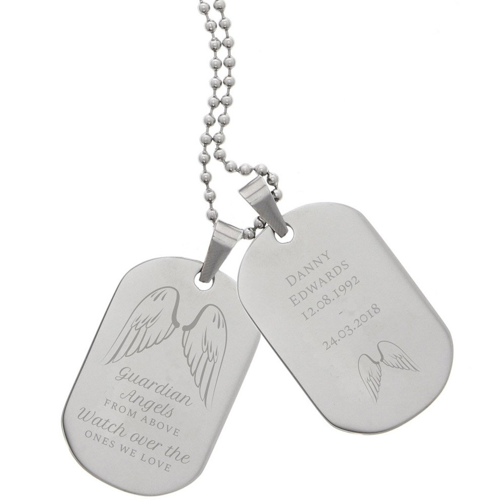 Guardian Angel Stainless Steel Double Dog Tag Necklace