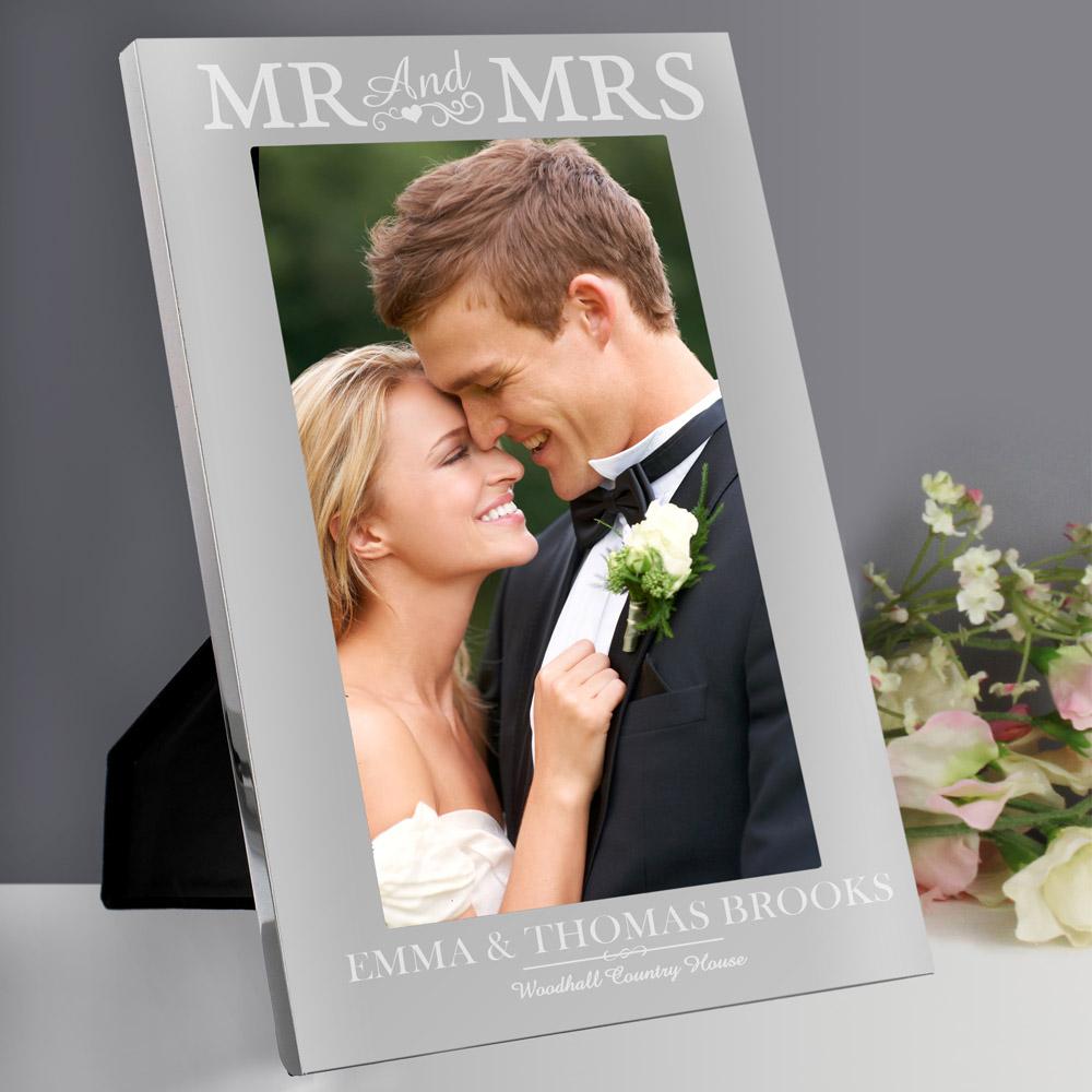 Mr & Mrs 7x5 Silver Photo Frame