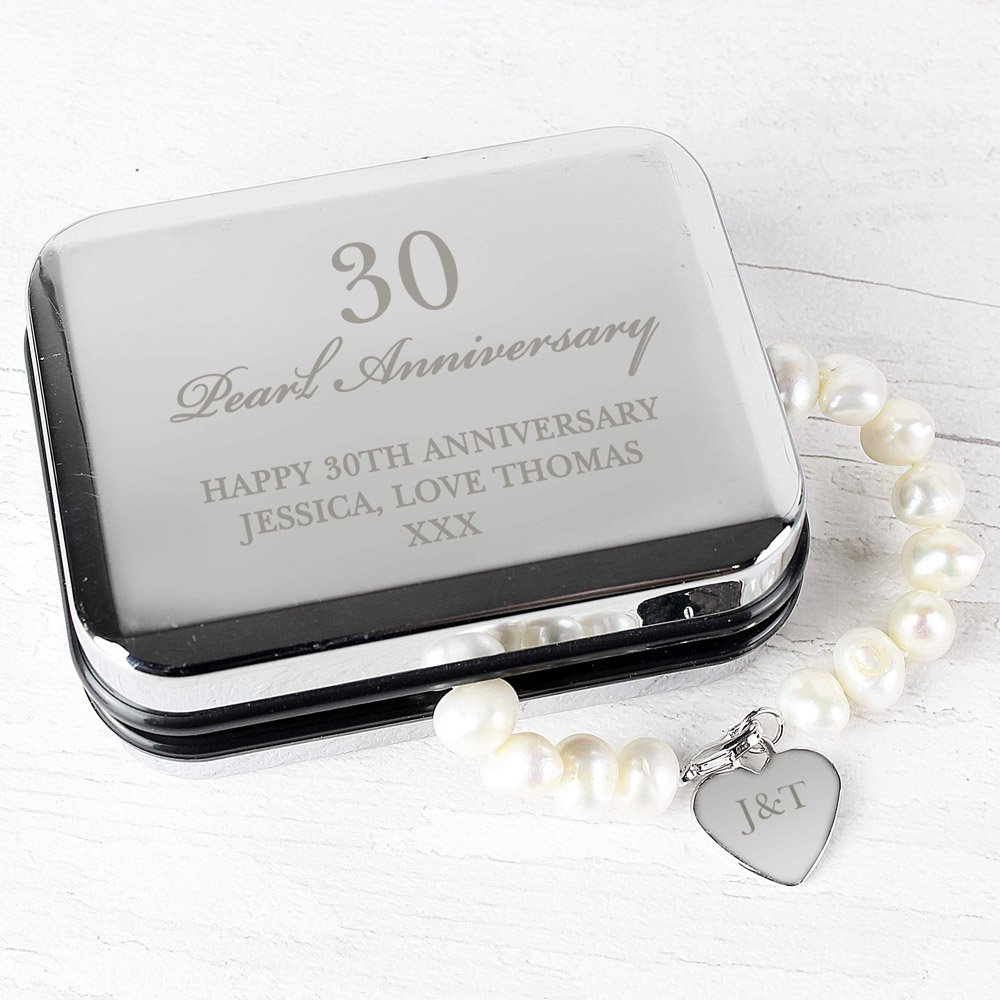 Anniversary Silver Box and Pearl Bracelet